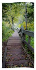 Winding Stairs In Autumn Beach Towel