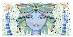Insect Girl, Winga - White Beach Towel
