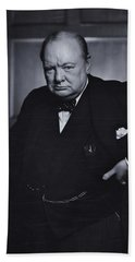 Winston Churchill In The Canadian Parliament Beach Towel