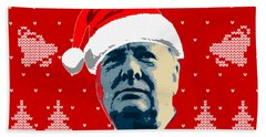 Winston Churchill Never Surrender Christmas Beach Towel
