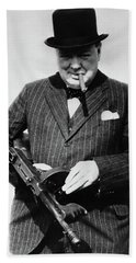Winston Churchill With Tommy Gun Beach Towel