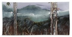 Beach Towel featuring the painting Winter At Pink Knob In Ellijay by Jan Dappen