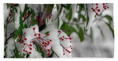 Winter Berries Beach Towel
