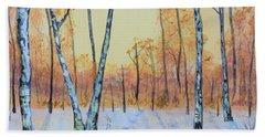 Winter Birches-cardinal Left Beach Towel