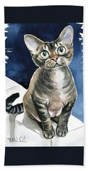 Winter Devon Rex Cat Painting Beach Towel