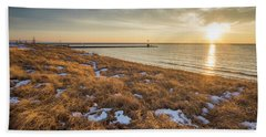 Winter Dunegrass At Sunset Beach Towel