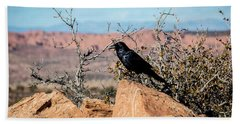 Beach Towel featuring the photograph Black Raven by David Morefield