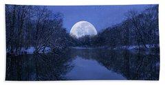 Winter Night On The Pond Beach Towel