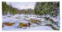 Beach Towel featuring the photograph  Winter On The Swift River. by Jeff Sinon