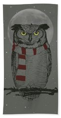 Winter Owl Beach Towel