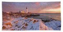 Winter Sunrise At Portland Head Light Beach Towel