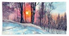 Winter Woodland In The Sun Beach Towel