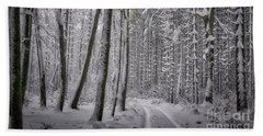 Beach Towel featuring the photograph Wintry Forest Track by Edmund Nagele