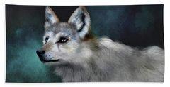 Beach Sheet featuring the digital art Wolf Art by Angela Murdock