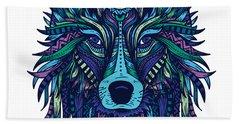 Wolf Illustration Beach Towel