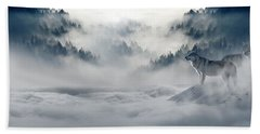 Wolfs In The Snow Beach Towel