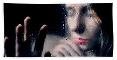 Woman Portrait Behind Glass With Rain Drops Beach Towel