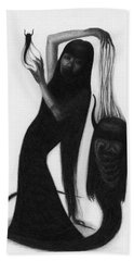 Woman With The Demon's Fingers - Artwork Beach Towel