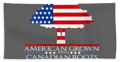 Womens Canadian Roots American Grown Tree Flag Usa Canada V-neck T-shirt Beach Towel