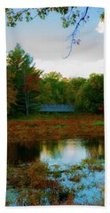 Wood Bridge In The Fall Beach Towel