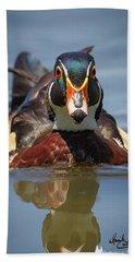 Wood Duck Face First Beach Sheet