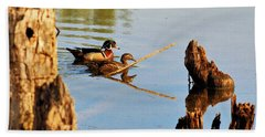 Beach Towel featuring the photograph Wood Ducks by Debbie Stahre