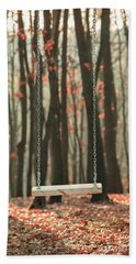 Wooden Swing In Autumn Forest Beach Sheet