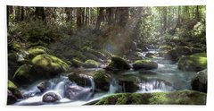 Beach Towel featuring the photograph Woodland Falls by Patti Deters