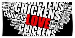 Word Cloud White Love Chickens Beach Towel