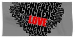 Wordcloud Love Chickens Black Beach Towel