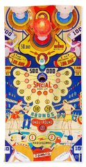 Beach Towel featuring the photograph World Champ Pinball Machine Penny Arcade Nostalgia 20181225 V2 by Wingsdomain Art and Photography