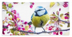 Yellow Blue Bird With Flowers Beach Towel