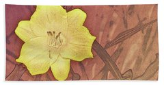 Yellow Day Lily Stencil On Sandstone Beach Towel
