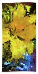 Yellow Flower And The Eggplant Floor Beach Towel