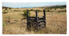 Yellow Grass And Fence Anchor Beach Towel