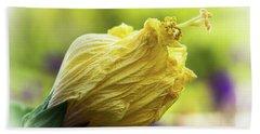Yellow Mature Hibiscus  Beach Towel