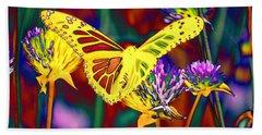 Yellow Monarch Butterfly Beach Towel