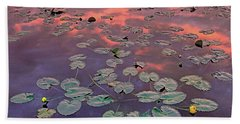 Yellow Pond Lilies At Sunset, North Beach Towel