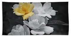 Yellow Rose Cluster Partial Color Beach Towel