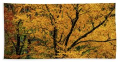 Yellow Tree Leaf Brilliance  Beach Towel
