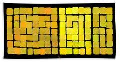 Beach Towel featuring the digital art Yellow Triptych by Attila Meszlenyi
