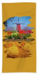 Yellow Wooden Shoes Beach Towel