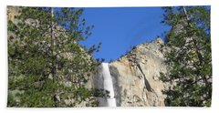 Yosemite National Park Bridal Veil Falls Water Fall View With Twin Trees Beach Sheet
