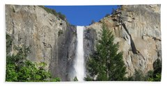 Yosemite National Park Bridal Veil Falls Waterfall Close Up View With Clear Blue Sky Beach Sheet