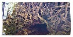 Yosemite National Park Giant Fallen Tree Trunk With Sun Rays Shining Thru Beach Sheet
