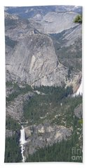 Yosemite National Park Glacier Point Overlooking Twin Water Falls And Snow Capped Mountains Beach Sheet