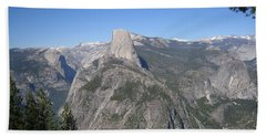 Yosemite National Park Half Dome And Twin Waterfalls View From Glacier Point Beach Sheet