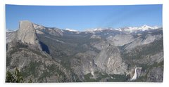 Yosemite National Park Half Dome Twin Waterfalls Snow Capped Mountains Clear Blue Sky Beach Sheet