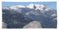 Yosemite National Park Panoramic View Snow Capped Mountains Beach Sheet
