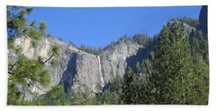 Yosemite National Park Waterfall And Mountain Range With Trees In The Foreground Beach Sheet